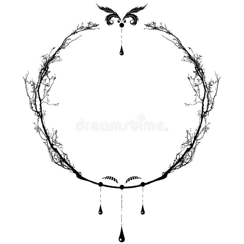 Floral round frame vector illustration