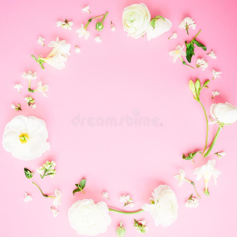 Floral round frame of white flowers on pink background flat lay download floral round frame of white flowers on pink background flat lay top view mightylinksfo