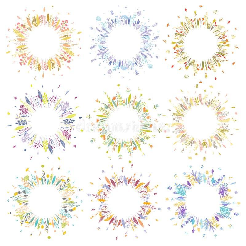 Floral round frames. vector illustration