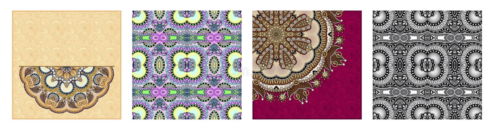Floral round pattern in ukrainian oriental ethnic style for your greeting card. Or invitation, template frame design for card, vintage lace doily, vector royalty free illustration