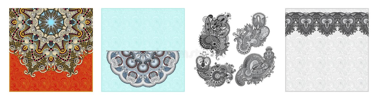 Floral round pattern in ukrainian oriental ethnic style for your greeting card. Or invitation, template frame design for card, vintage lace doily, vector vector illustration