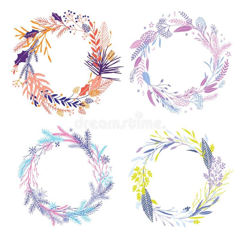 Floral round wreaths. vector illustration