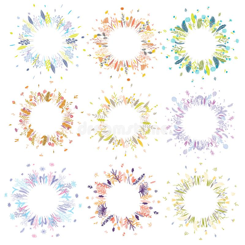 Floral round wreaths. royalty free illustration