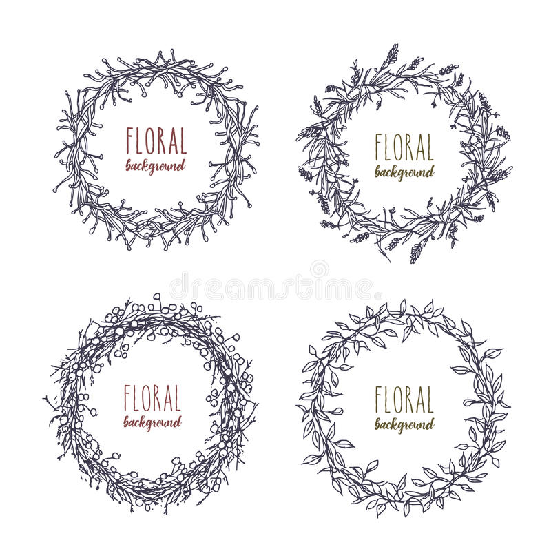 Floral round wreaths set. Hand drawn frames, collection. Monochrome vector illustration. vector illustration