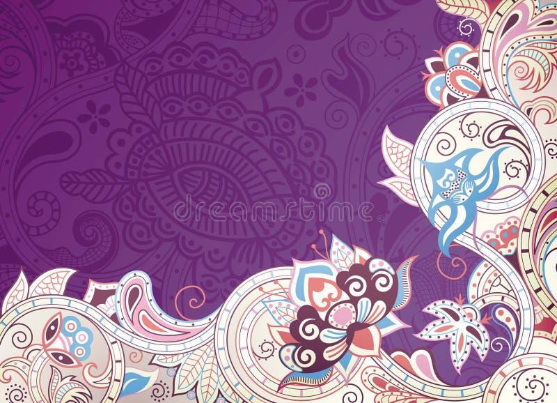 Floral roxo abstrato ilustração stock