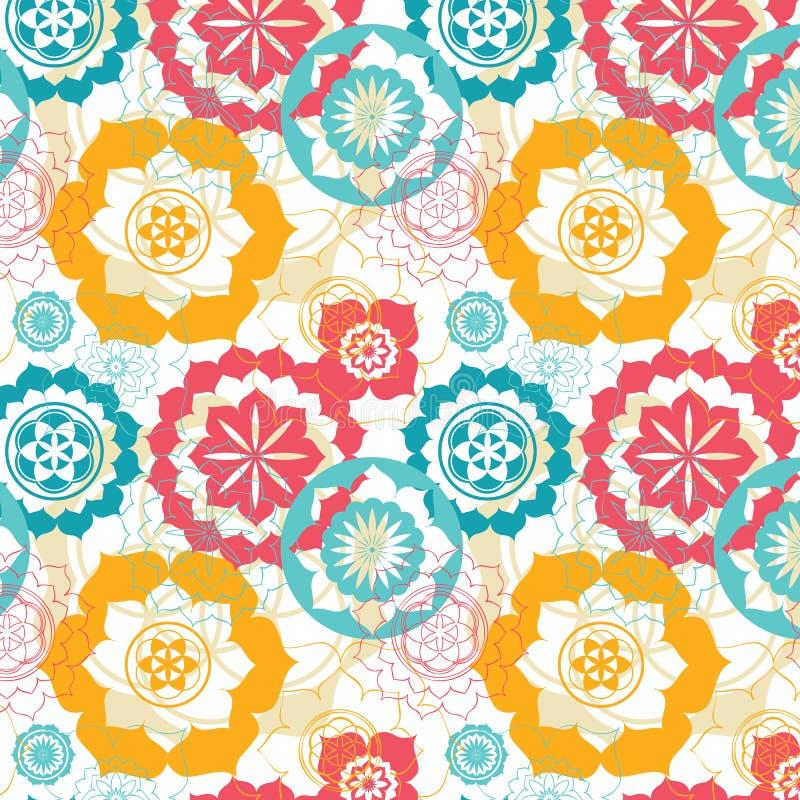 Floral sacred geometry lotus seamless pattern stock illustration