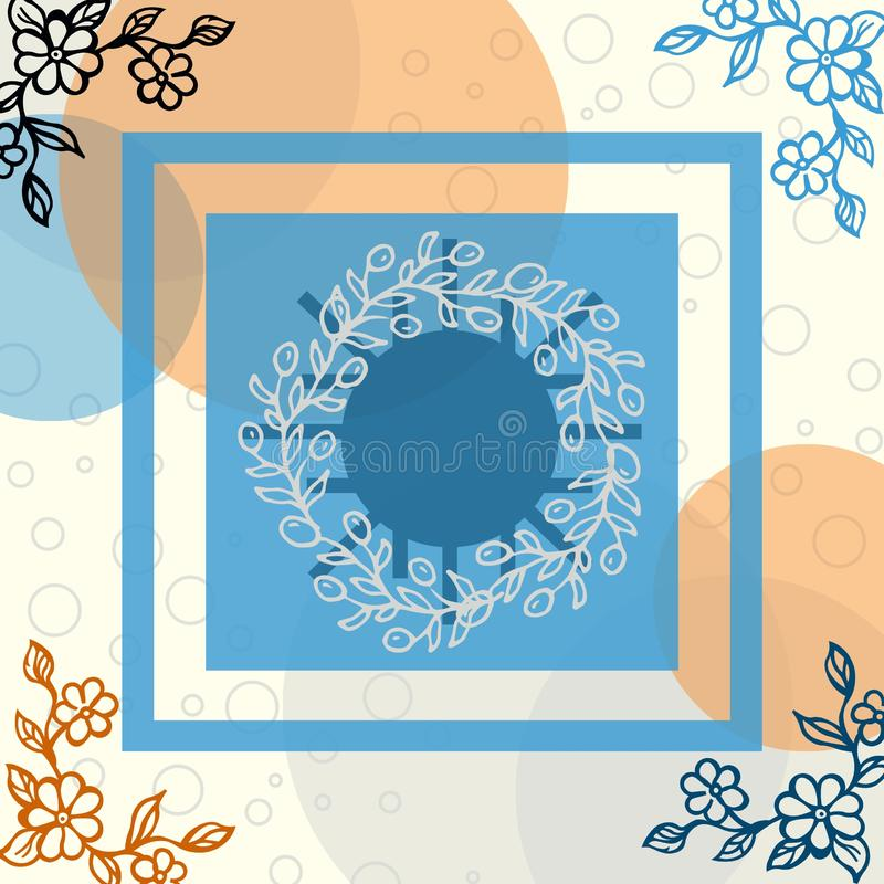 Floral scarf with bubble and line motive stock illustration