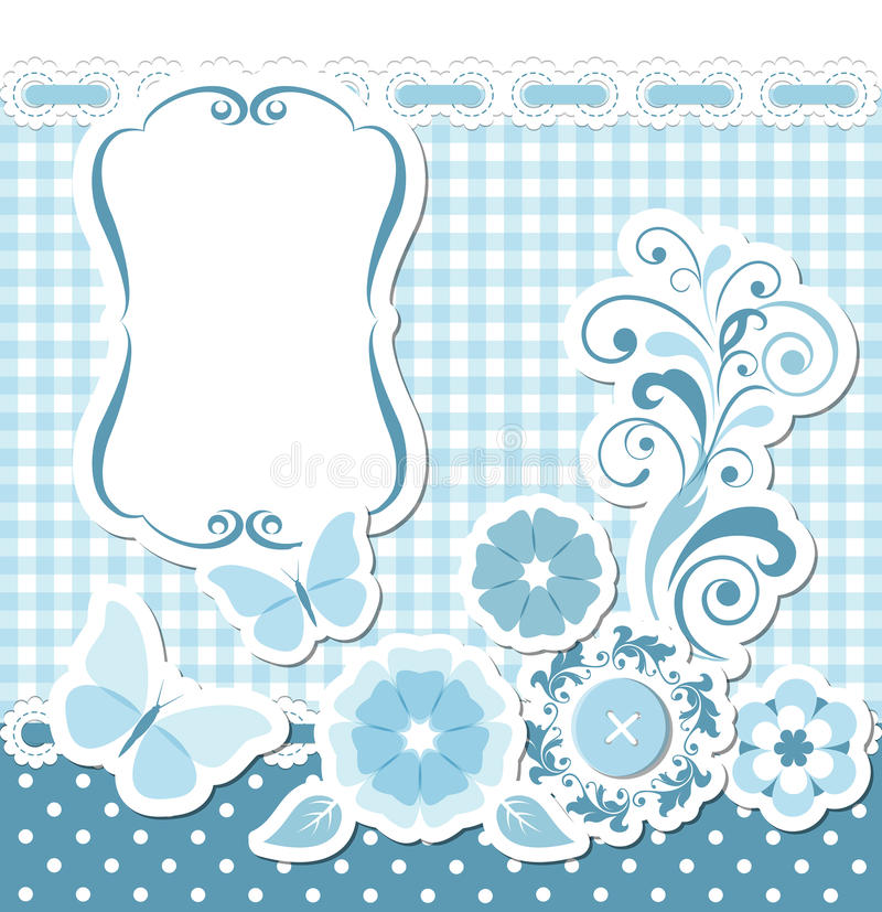 Download Floral scrapbook blue set stock vector. Illustration of photo - 31513347