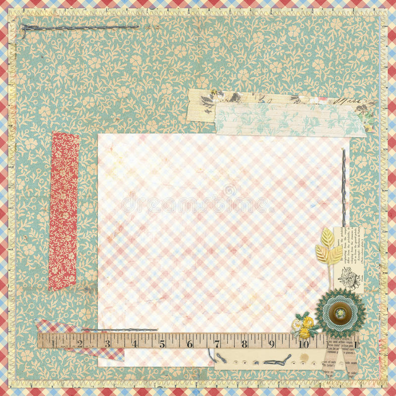 Free Floral Scrapbook Layout With Vintage Embellishments Stock Image - 38124961
