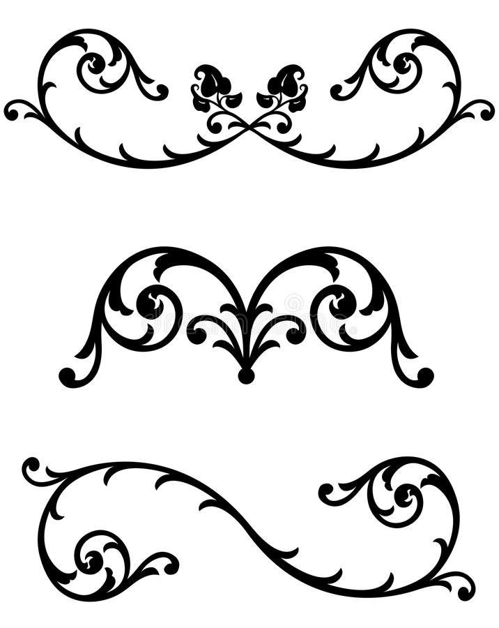 Floral Scroll Line Rules. Intricate scrollwork line rule flourishes for text division or page ornamentation with a Victorian organic leaf and floral design royalty free illustration