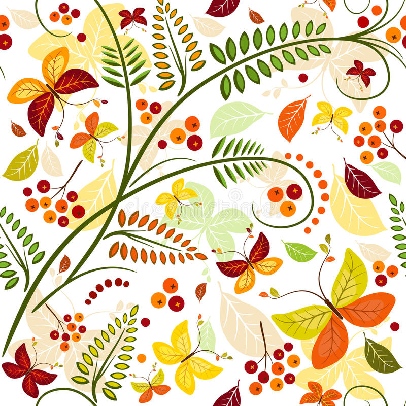 Floral seamless autumn pattern vector illustration