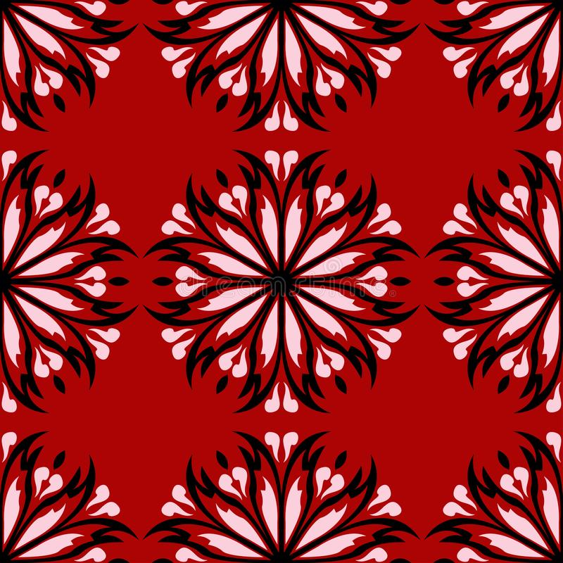 Floral seamless background. Black and white flower pattern on red vector illustration