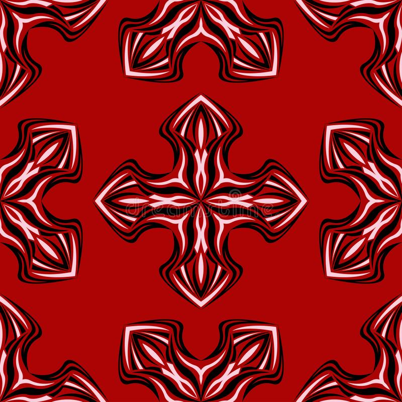 Floral seamless background. Black and white flower pattern on red stock illustration