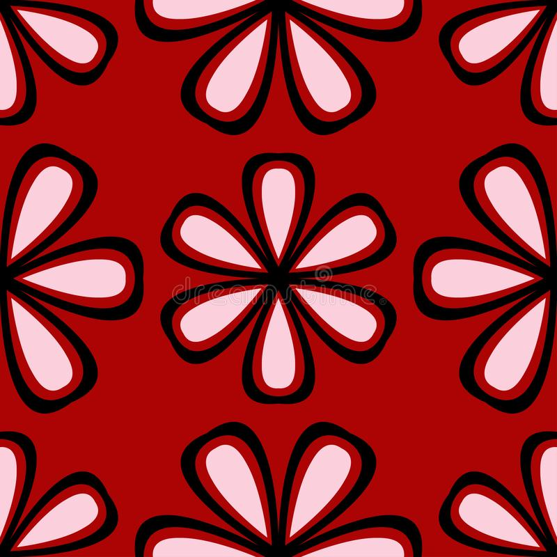 Floral seamless background. Black and white flower pattern on red royalty free illustration