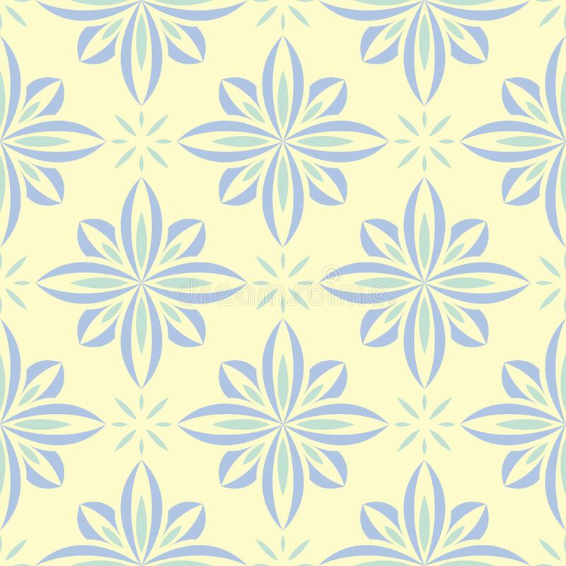 Floral seamless background. Blue and green flower pattern on beige backdrop royalty free illustration