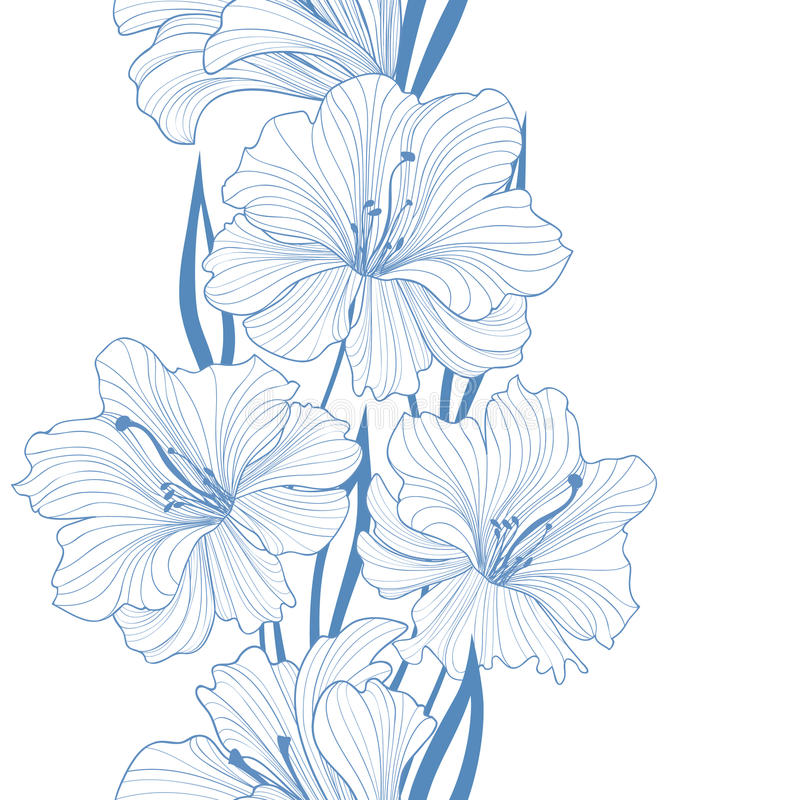 Floral seamless background. Flower pattern. Border with flowers. stock illustration