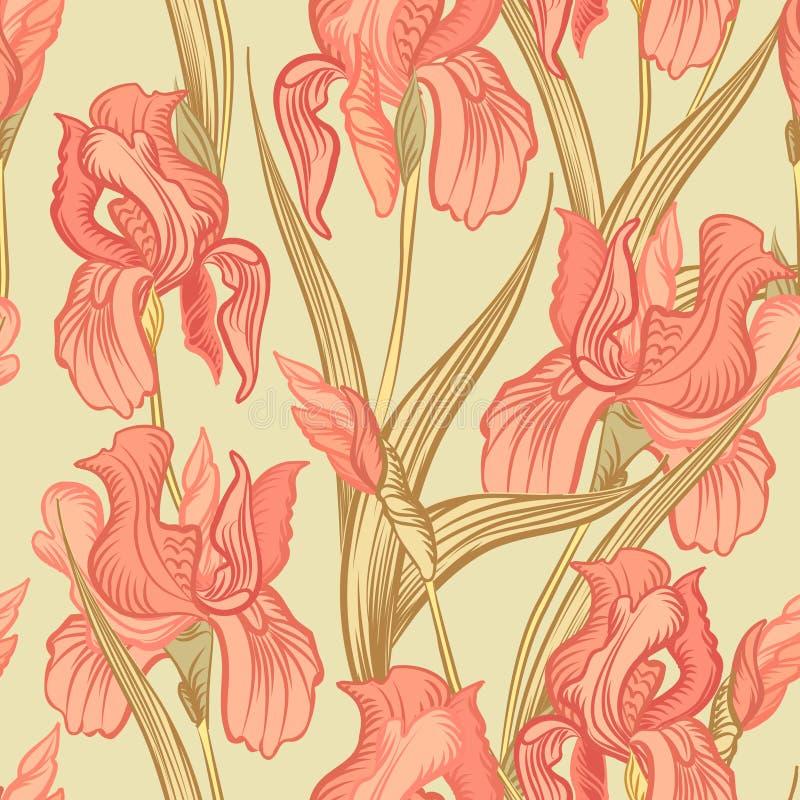 Floral seamless background. Flower pattern. stock illustration