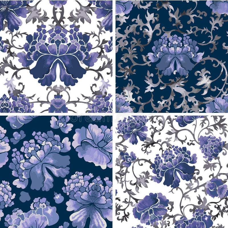 Floral seamless background, flower pattern vector wallpaper stock illustration