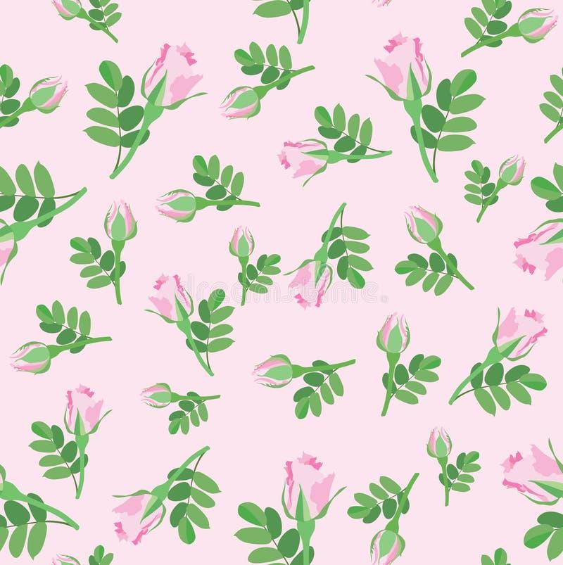 Floral seamless background. flower rose pattern. stock illustration