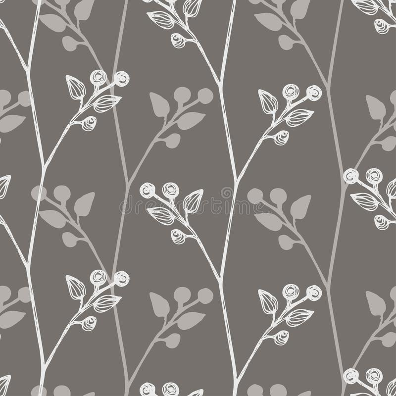 Floral seamless background with small leaves, twigs of plants. Simple pattern. Gray and white color The idea for royalty free illustration