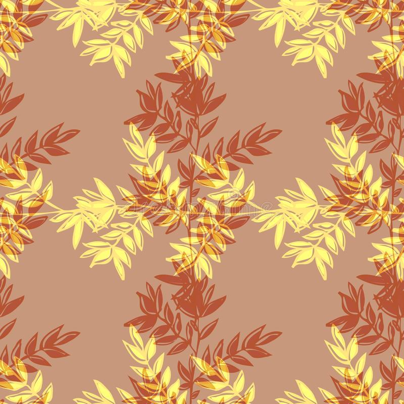 Floral seamless background. Seamless background with stylized floral and herbal motifs royalty free illustration