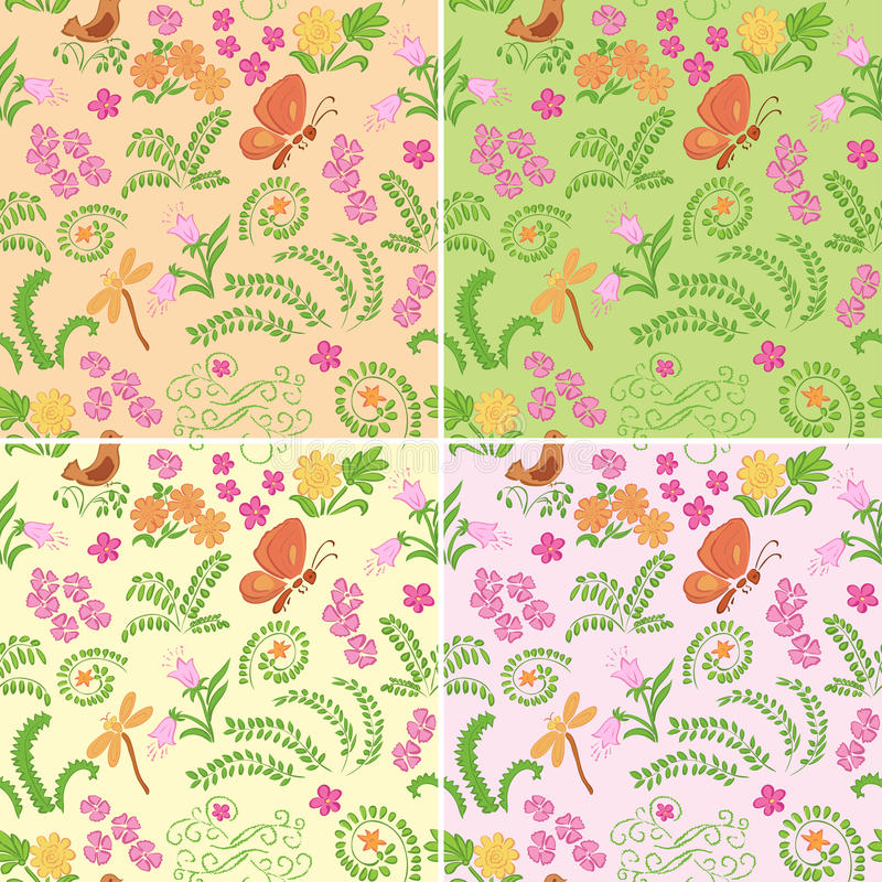 Floral seamless vector backgrounds with nature elements - set stock illustration
