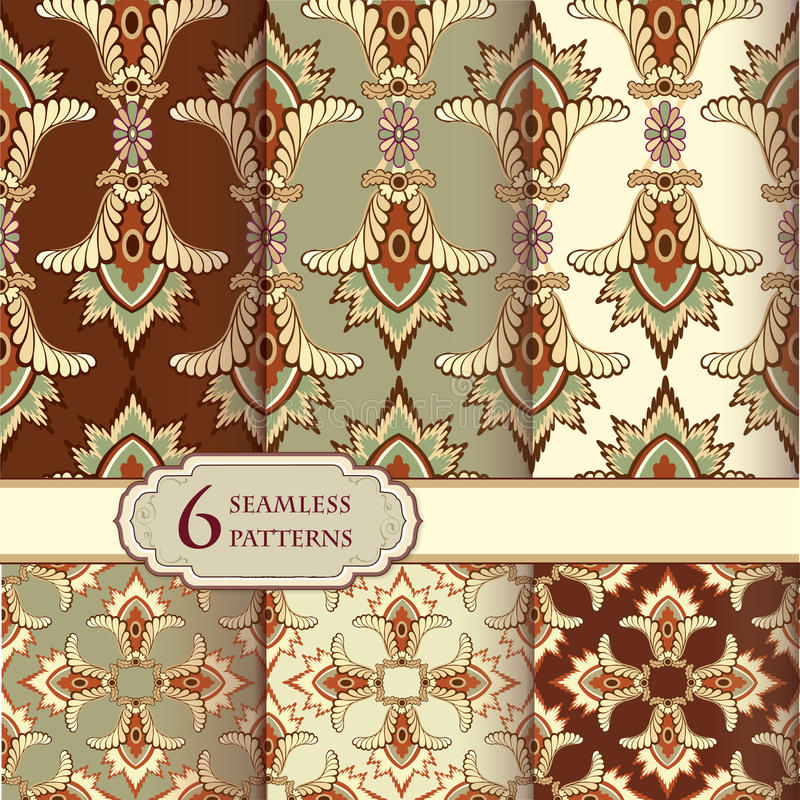 Floral seamless backgrounds set. Abstract flourish pattern. Seamless pattern set in retro style. Abstract oriental textured backgrounds for scrapbook royalty free illustration