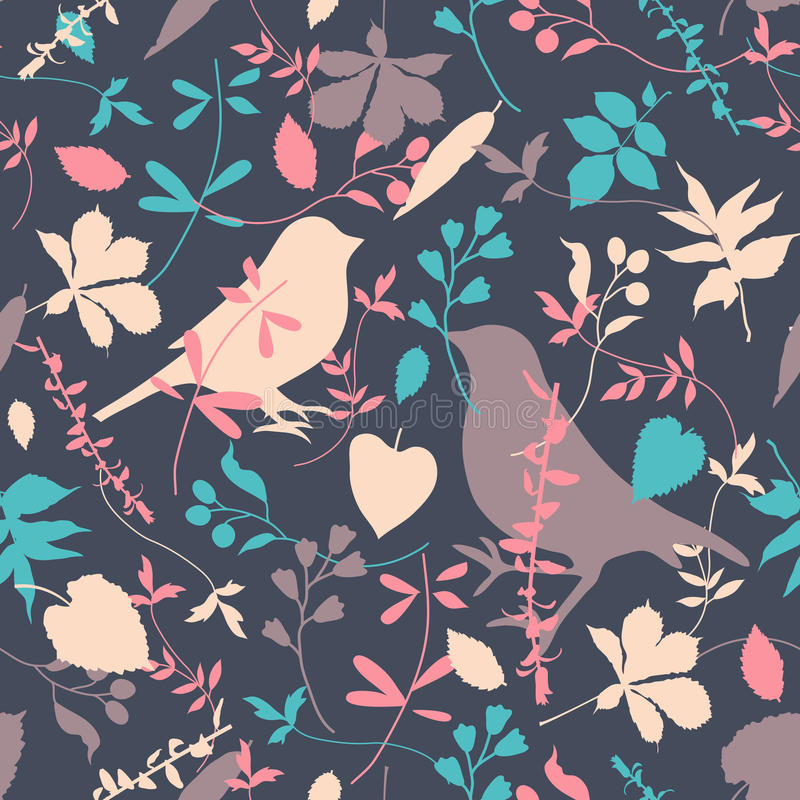 Floral Seamless With Birds Royalty Free Stock Photos