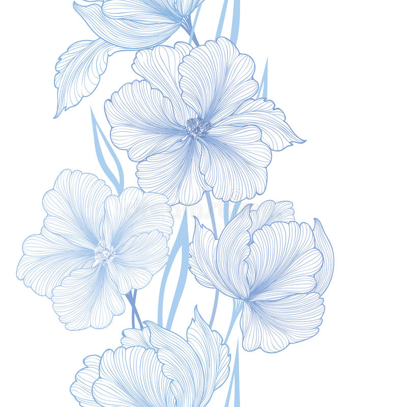Floral seamless border. Flowerbackground with wildflower vector illustration