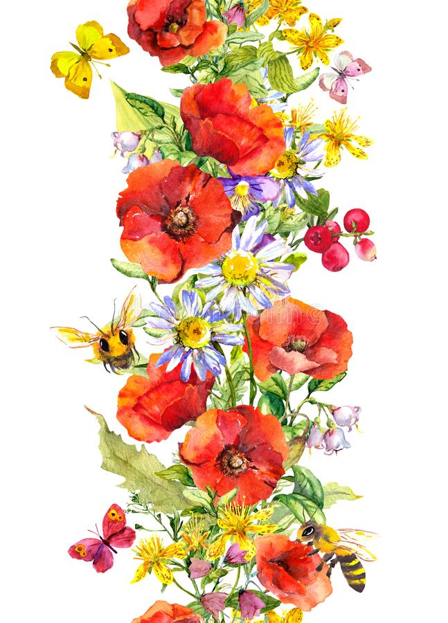 Free Floral Seamless Border Stripe With Bright Flower, Butterflies, Honey Bees. Watercolor Strip - Meadow Grass, Red Poppies Stock Image - 190753221
