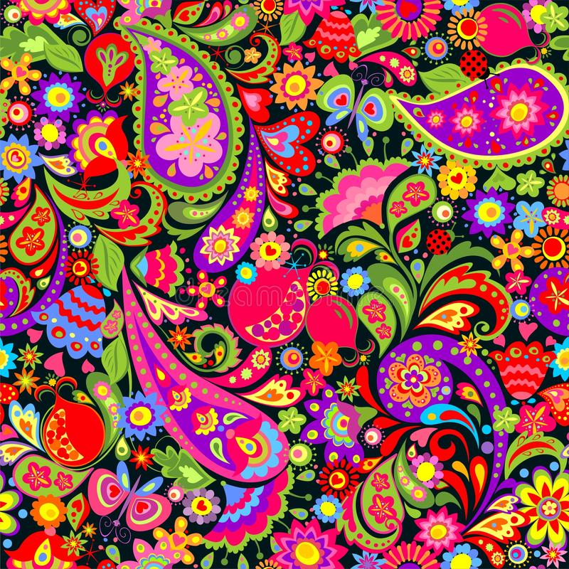 Floral seamless decorative ethnic colorful pattern with abstract flowers, paisley and pomegranate stock illustration