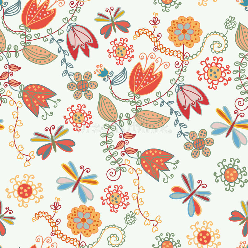 Free Floral Seamless Ornate Pattern With Tulips Royalty Free Stock Photography - 13462437