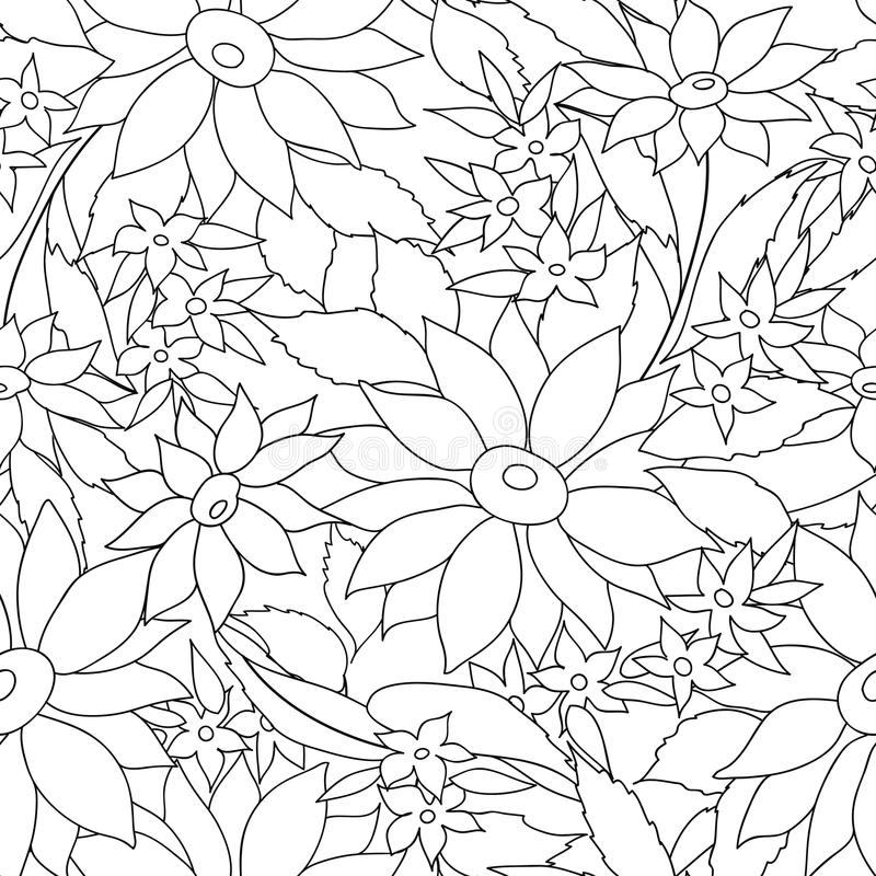 Floral seamless outline pattern. monohrome texture with flowers. stock illustration