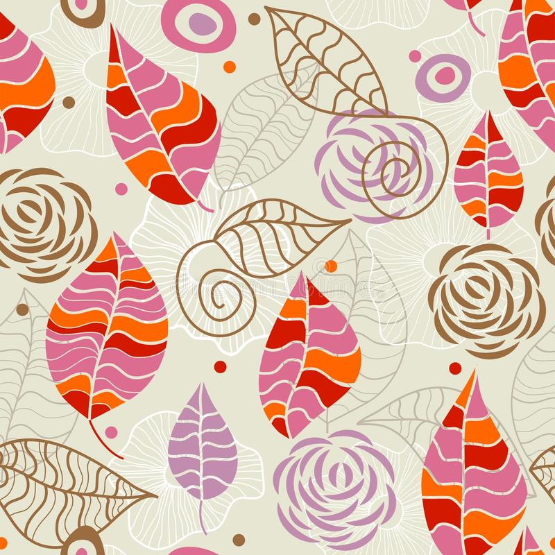 Floral seamless pattern. Funky leaves and flowers in retro colors stock illustration