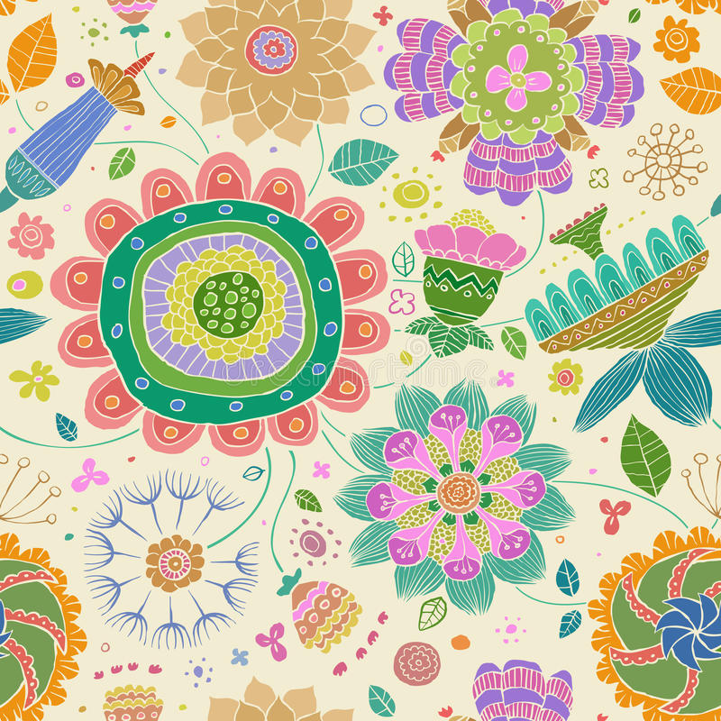 Floral seamless pattern. On a yellow background, vector