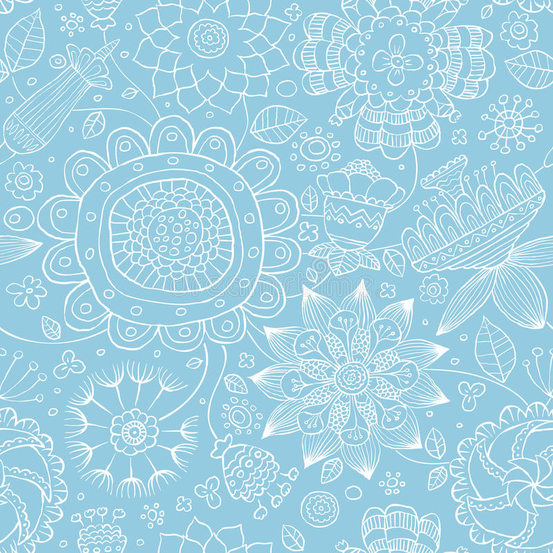 Floral seamless pattern. Seamless floral pattern on a blue background, vector