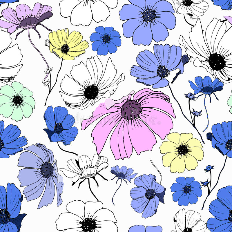 Floral seamless pattern. Abstract seamless pattern with colorful isolated flowers. Vector illustration stock illustration