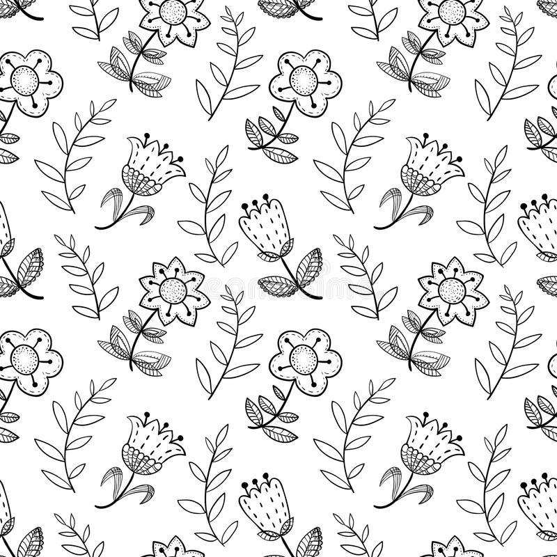 Floral seamless pattern with abstract doodle flowers.. Background in black and white colors. stock illustration