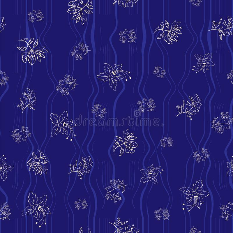 Floral seamless pattern with abstract leaves, flowers. Floral seamless pattern. Vector illustration of abstract leaves, flowers, petunias, lilies, hibiscuses stock illustration