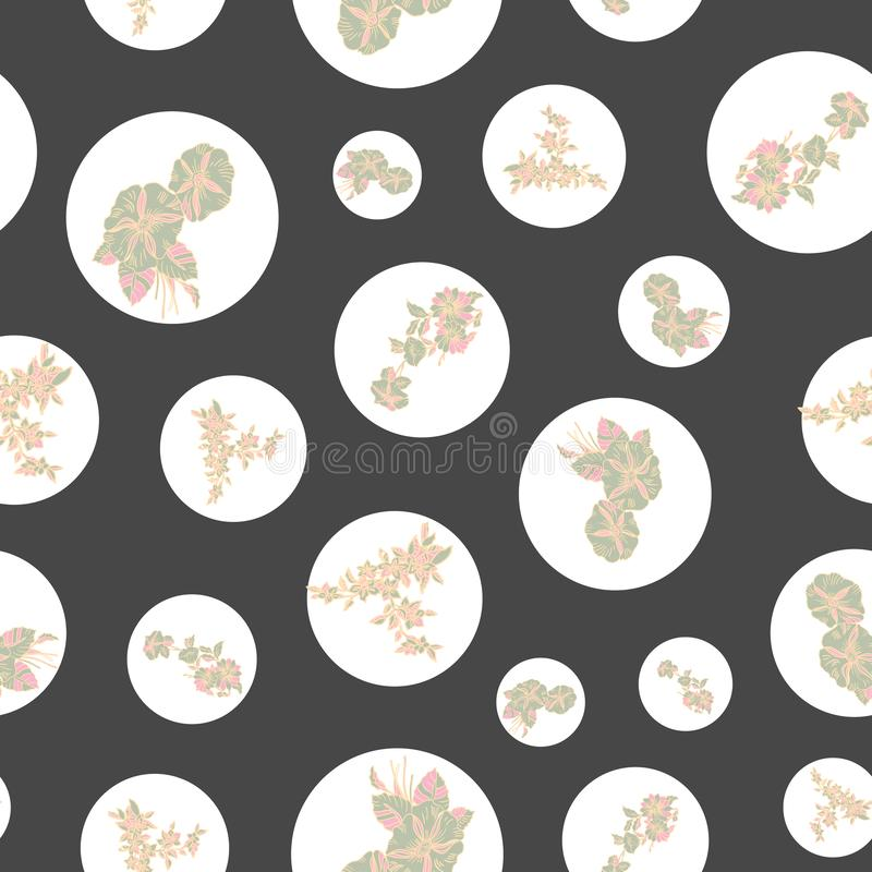 Floral seamless pattern with abstract leaves, flowers, petunias and daisies. stock illustration