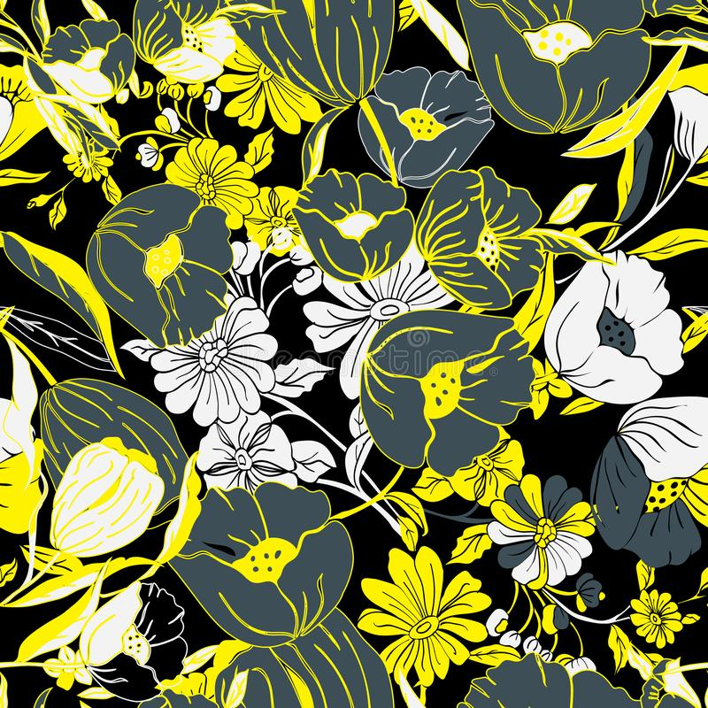 Floral seamless pattern with abstract leaves, flowers, petunias and daisies. vector illustration