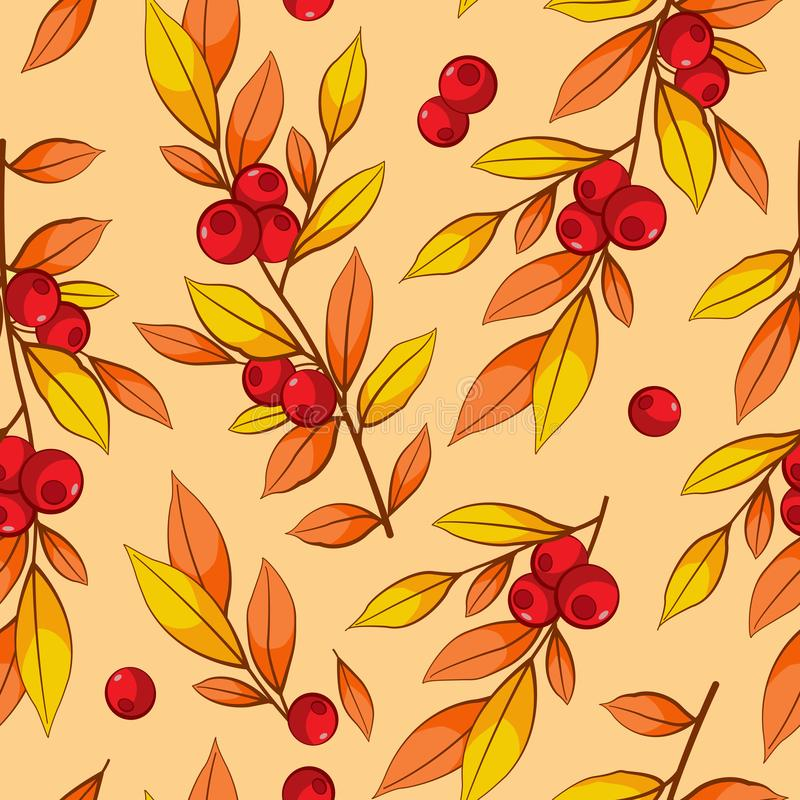 Floral seamless pattern with autumn branches, leaves and red berries on beige background. stock illustration