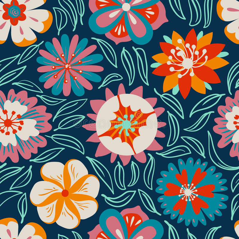 Floral seamless pattern. Background with abstract flowers and le. Aves in doodle style. Vector colorful illustration royalty free illustration