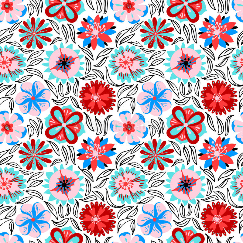 Floral seamless pattern. Background with abstract flowers and le. Aves in doodle style. Vector colorful illustration stock illustration