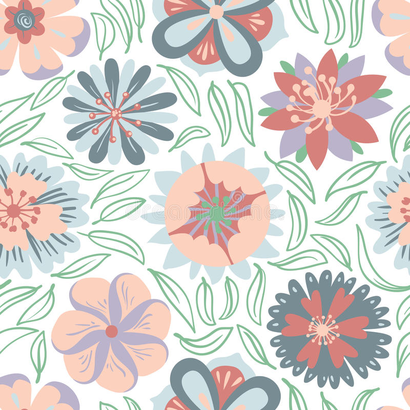 Floral seamless pattern. Background with abstract flowers and le. Aves in doodle style. Vector illustration royalty free illustration