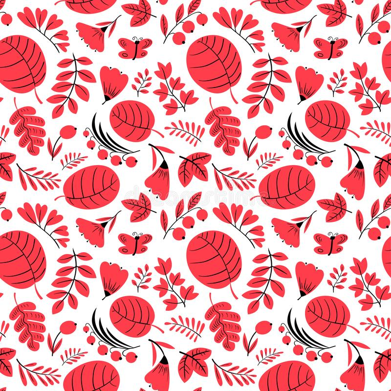 Download Floral Seamless Pattern. Background With Flowers And Leaves. Vec Stock Vector - Illustration of insect, background: 116736014
