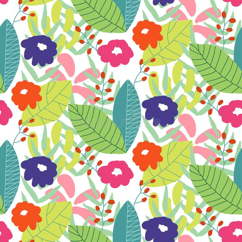 Floral seamless pattern background. Ornament with stylized leaves and flowers stock illustration