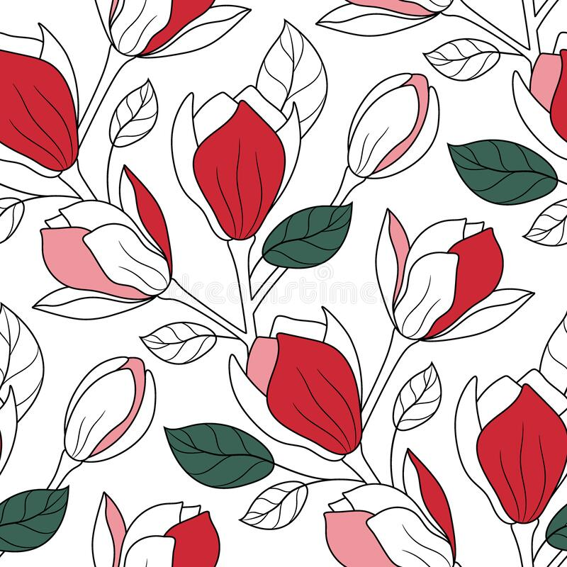 Free Floral Seamless Pattern. Beautiful Magnolia Flower Background. Modern Ornament With Blooming Magnolias Flowers. Stock Photography - 214724442