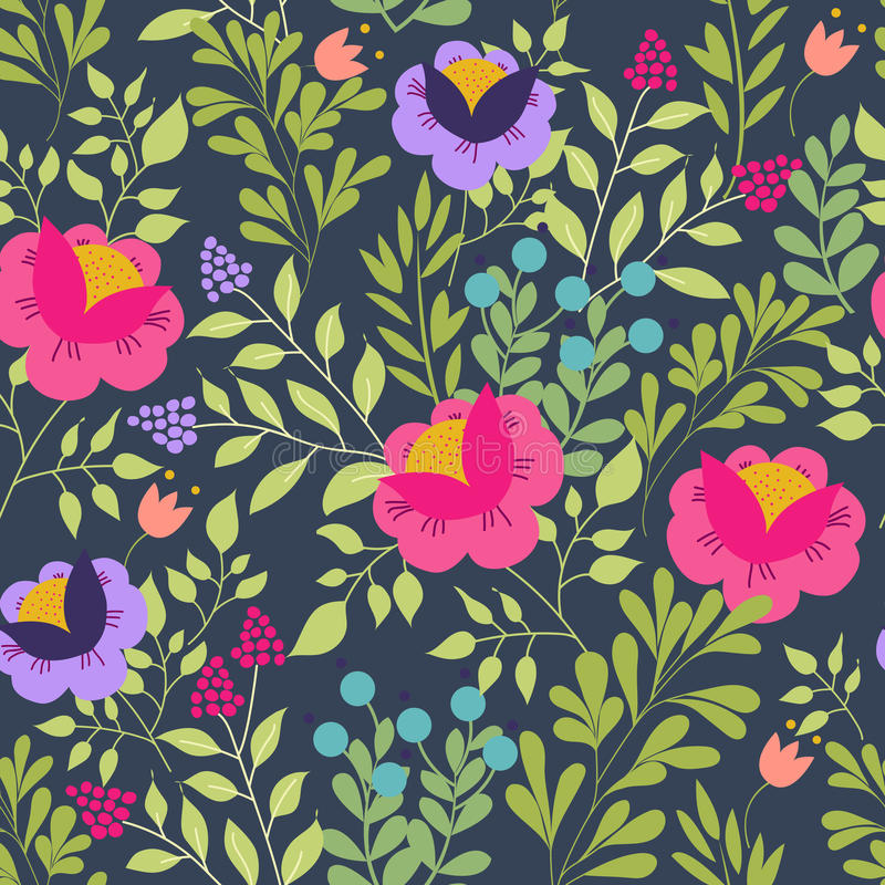 Floral seamless pattern with beautiful pink flowers. Forest design. Exotic flowers, berries and leaves. Pattern for vector illustration