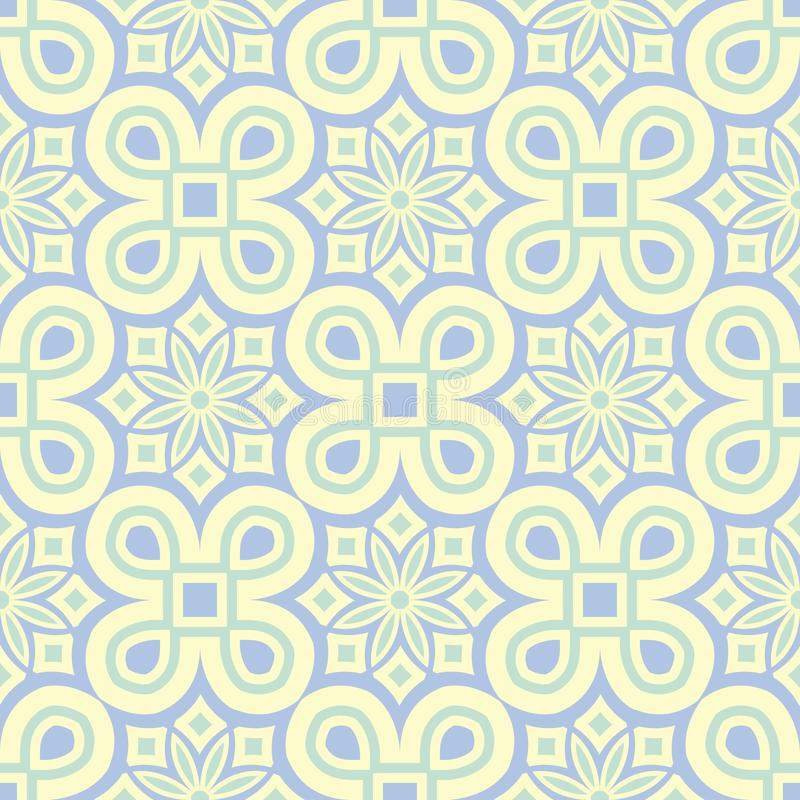 Floral seamless pattern. Beige background with light blue and green flower elements stock illustration